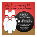 Cherry Red Let's Have a Ball Bowling Party 5.25x5.25 Square Paper Invitation Card