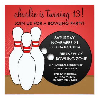 "Cherry Red Let's Have a Ball Bowling Party 5.25"" Square Invitation Card"