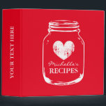 """Cherry red mason jar kitchen recipe binder book<br><div class=""""desc"""">Personalized cherry red and white vintage mason jar kitchen recipe binder book Custom cookbook with heart and personalizable color plus name. Cute personalized baking / cooking gift idea for women; ie mom, mother, aunt, wife, sister, grandma etc. Rustic country chic design with faded love symbol. Elegant typography for custom name....</div>"""