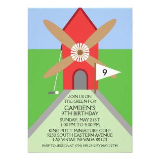 Cherry Red Miniature Golf Windmill Birthday Party Custom Announcement