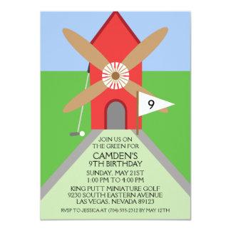 Cherry Red Miniature Golf Windmill Birthday Party 4.5x6.25 Paper Invitation Card