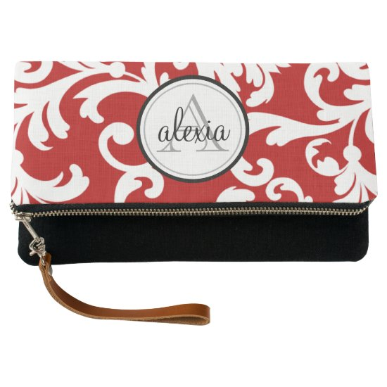 Cherry Red Monogrammed Damask Clutch