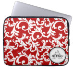 Cherry Red Monogrammed Damask Print Computer Sleeves
