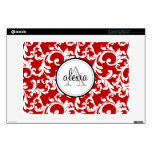 Cherry Red Monogrammed Damask Print Laptop Decal