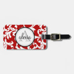 Cherry Red Monogrammed Damask Print Luggage Tag at Zazzle