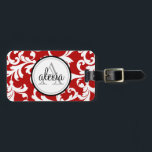 "Cherry Red Monogrammed Damask Print Luggage Tag<br><div class=""desc"">Cherry Red Monogrammed Damask Print</div>"