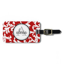 Cherry Red Monogrammed Damask Print Luggage Tag