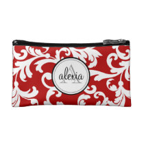 Cherry Red Monogrammed Damask Print Makeup Bag