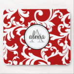 """Cherry Red Monogrammed Damask Print Mouse Pad<br><div class=""""desc"""">Cherry Red Monogrammed Damask Print</div>"""