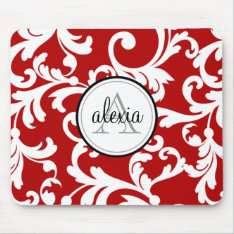 Cherry Red Monogrammed Damask Print Mouse Pad at Zazzle