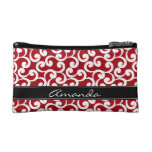 Cherry Red Monogrammed Elements Print Cosmetic Bags