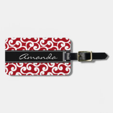 Cherry Red Monogrammed Elements Print Bag Tag at Zazzle
