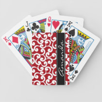Cherry Red Monogrammed Elements Print Bicycle Playing Cards
