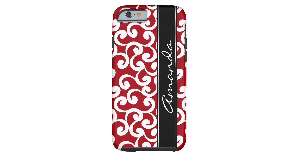 on sale ed96f 1f666 Cherry Red Monogrammed Elements Print Case-Mate iPhone Case | Zazzle.com