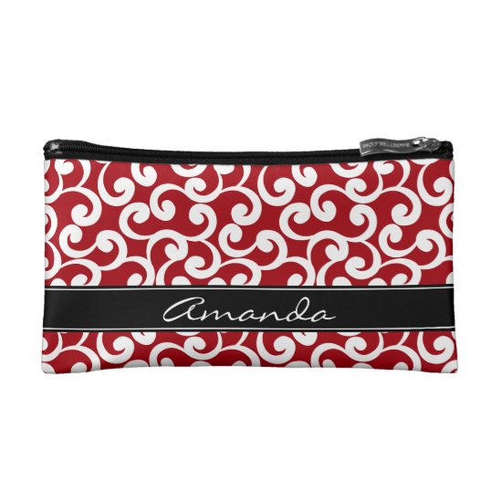 Cherry Red Monogrammed Elements Print Cosmetic Bag