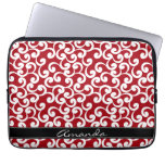 Cherry Red Monogrammed Elements Print Computer Sleeve