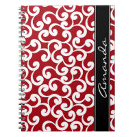 Cherry Red Monogrammed Elements Print Notebook