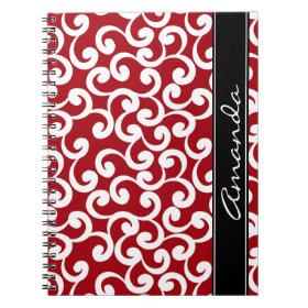 Cherry Red Monogrammed Elements Print Spiral Notebooks