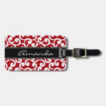 Cherry Red Monogrammed Elements Print Tag For Luggage