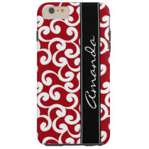Cherry Red Monogrammed Elements Print Tough iPhone 6 Plus Case