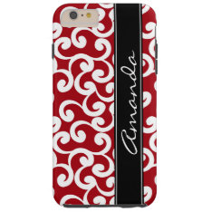 Cherry Red Monogrammed Elements Print Tough Iphone 6 Plus Case at Zazzle
