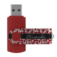 Cherry Red Monogrammed Elements Print USB Flash Drive