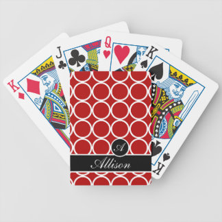 Cherry Red Monogrammed Lexi Print Bicycle Playing Cards