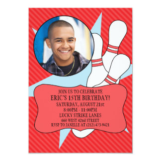 Cherry Red No Time To Spare Bowling Party Photo 5x7 Paper Invitation Card