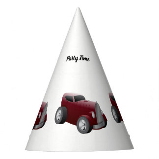 cherry red old hot rod muscle car party hat