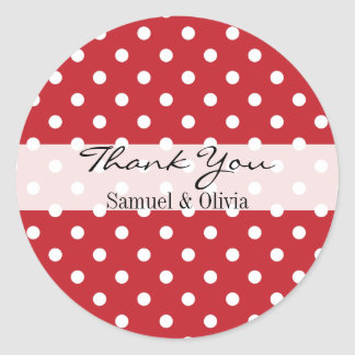 Cherry Red Round Custom Polka Dotted Thank You Classic Round Sticker