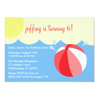 Cherry Red Splish Splash Birthday Pool Party 4.5x6.25 Paper Invitation Card