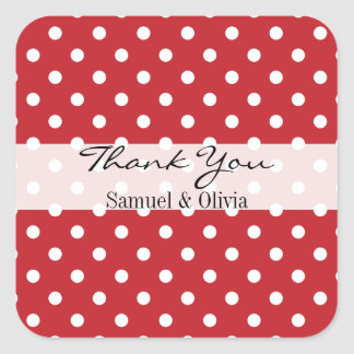 Cherry Red Square Custom Polka Dotted Thank You Square Sticker