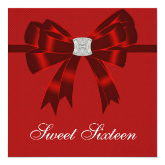 Cherry Red Sweet Sixteen Birthday Party 5.25x5.25 Square Paper Invitation Card