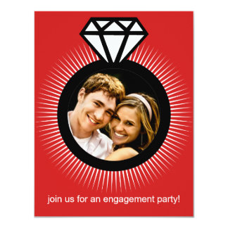 Cherry Red The Ring Photo Engagement Party Card