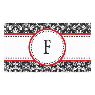 Cherry Red & White Classic Damask Mommy Calling / Business Card Template