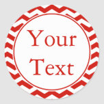 Cherry Red & White Sticker or Label w/ Custom Text Round Stickers