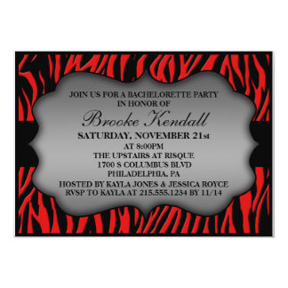 Cherry Red Wild Night Zebra Bachelorette Party 5x7 Paper Invitation Card
