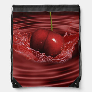 Cherry Ripples Drawstring Bag