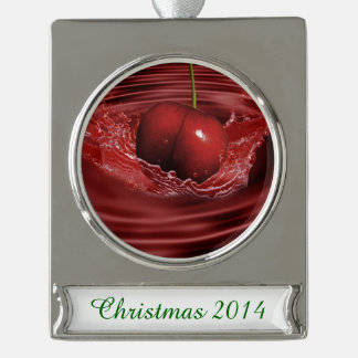 Cherry Ripples Silver Plated Banner Ornament