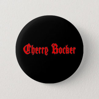 Cherry Rocker Button - Red Text on Black