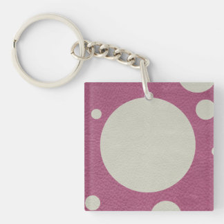 Cherry Scattered Spots on Stone Leather print Keychain