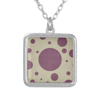 Cherry Scattered Spots on Stone Leather print Silver Plated Necklace
