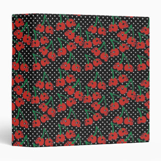 Cherry Skulls Red on Black 3 Ring Binder