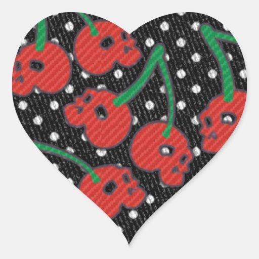 Cherry Skulls Red on Black Heart Sticker