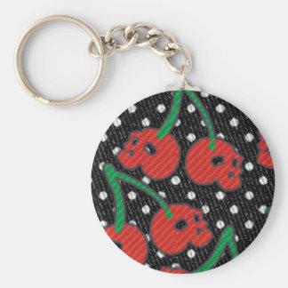 Cherry Skulls Red on Black Keychain