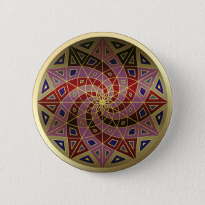 Cherry Swirl Gold Trim Mandala button
