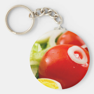 Cherry tomatoes and boiled eggs in a salad keychain