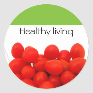 Cherry tomatoes and healthy living classic round sticker
