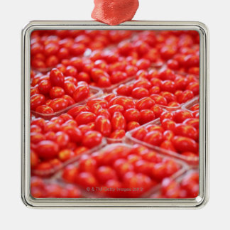 Cherry tomatoes at a market stall square metal christmas ornament