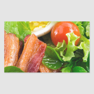 Cherry tomatoes, herbs, olive oil, eggs and bacon rectangular sticker
